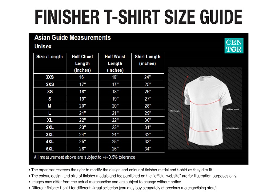Finisher Tee Size Guide