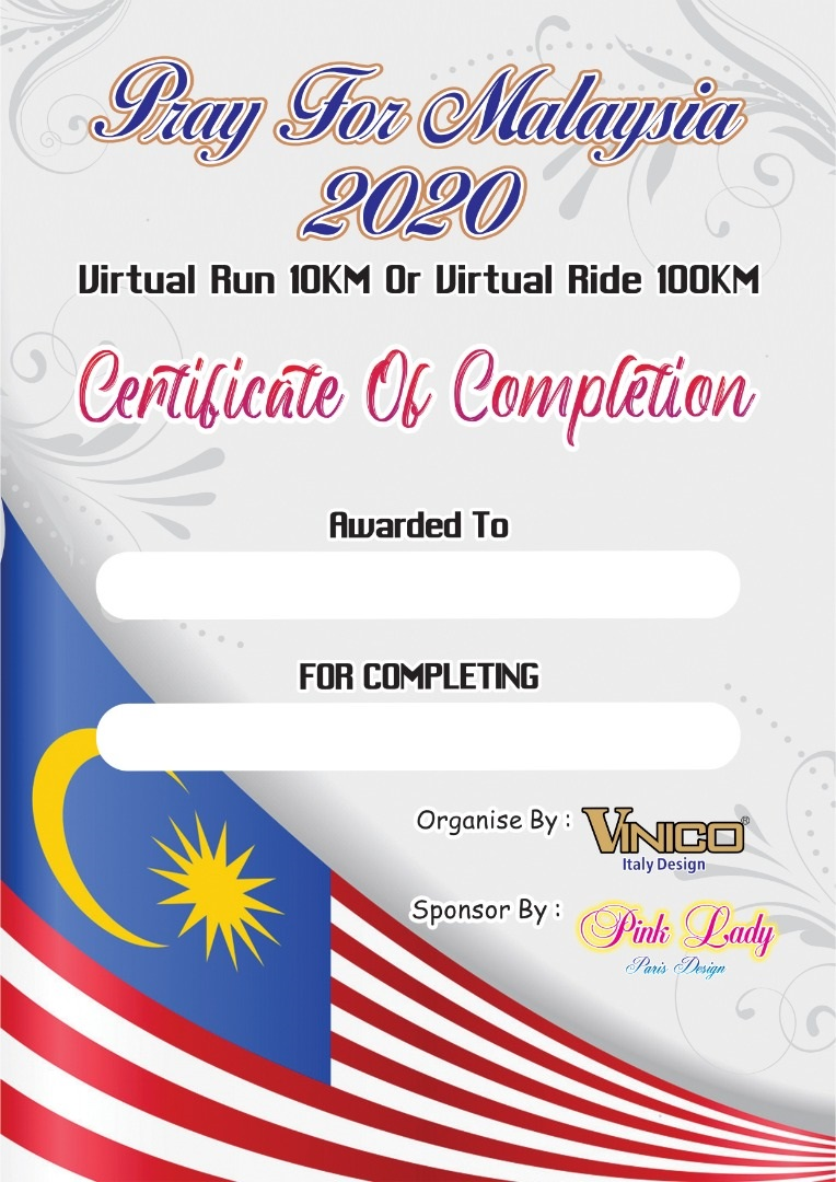 Pray For Malaysia 2020 Virtual Run 10KM Or Virtual Ride 100KM