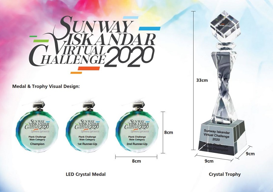 Sunway Iskandar Virtual Run 2020 - Medal & Trophy