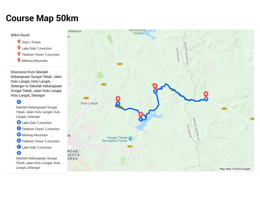 50KM Course Map