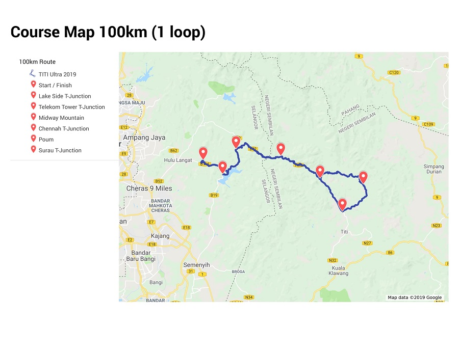 100KM Course Map