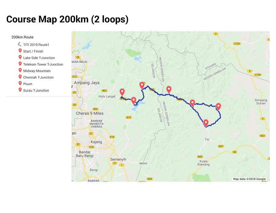 200KM Course Map