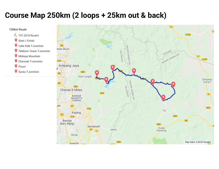 250KM Course Map
