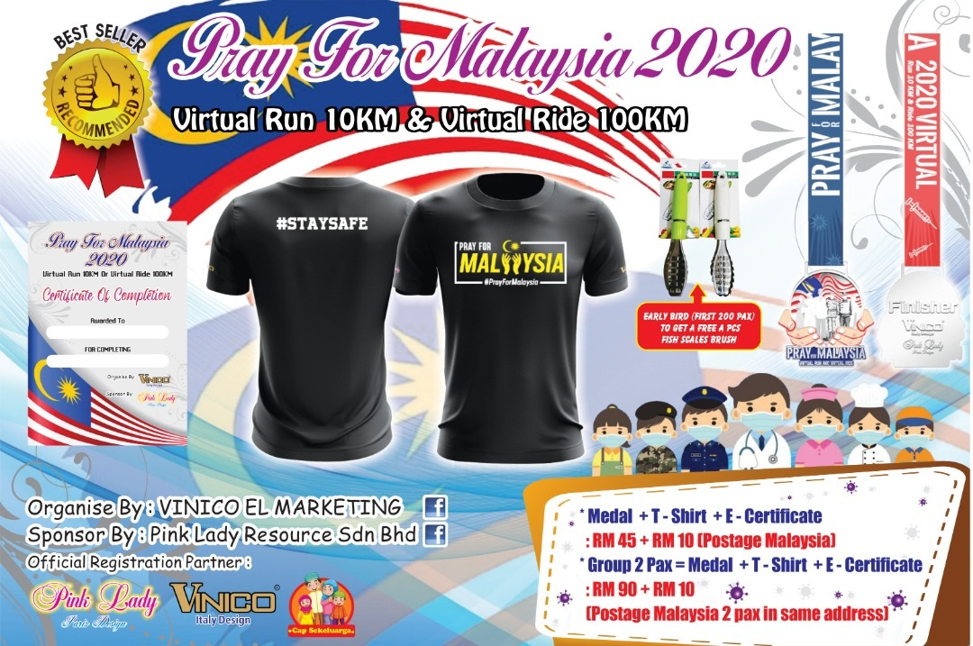 Pray For Malaysia 2020 Virtual Run 10KM Or Virtual Ride