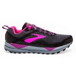 Brooks Women Cascadia 14 (Medium B width) – Black/Hollyhock/Pink